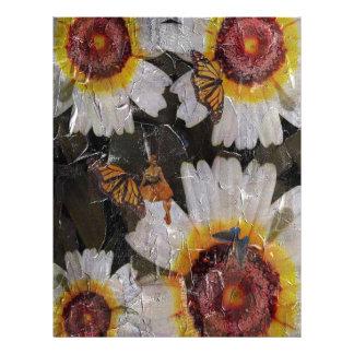 Sunflowers Woman Butterfly Grunge Letterhead