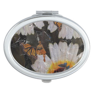 Sunflowers Woman Butterfly Grunge Mirror For Makeup