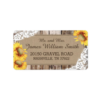 Sunflowers Wood and Lace Rustic Wedding Label Address Label