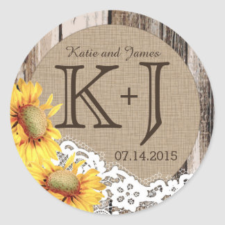 Sunflowers Wood Lace Rustic Country Wedding Label Classic Round Sticker