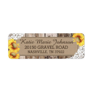 Sunflowers Wood Lace Rustic Wedding Label