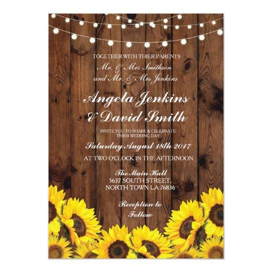 sunflowers wood wedding rustic floral light invite zazzle com