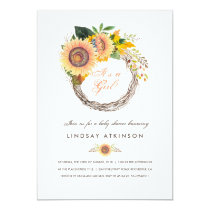 Sunflowers Wreath Rustic Fall Baby Shower Invitation