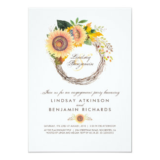Sunflowers Wreath Rustic Fall Engagement Party Invitation