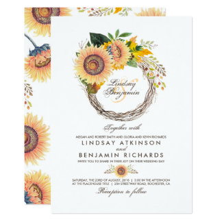 Sunflowers Wreath Rustic Fall Wedding Card