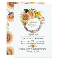 Sunflowers Wreath Rustic Fall Wedding Invitation