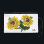 "Sunflowers Wristlet Purse<br><div class=""desc"">This design features beautiful sunflowers.   
