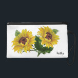 """Sunflowers Wristlet Purse<br><div class=""""desc"""">This design features beautiful sunflowers.     The TEXT can be customized with your own by filling in the TEXT box to the right.      Artwork by Designers Delight</div>"""