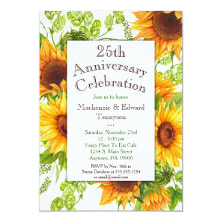 Sunflowers Yellow Floral Anniversary Invitation