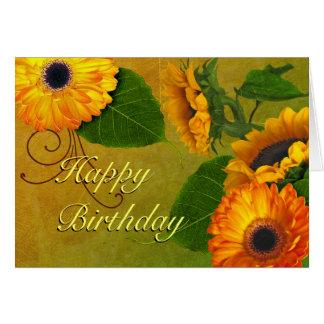 Sunflowers & Zinnias Birthday Card
