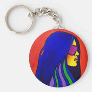 Sunglass Woman by Piliero Basic Round Button Keychain