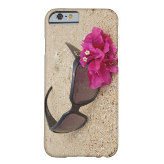 Sunglasses and bougainvillia flowers on coral barely there iPhone 6 case