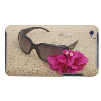 Sunglasses and bougainvillia flowers on coral barely there iPod case