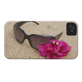 Sunglasses and bougainvillia flowers on coral Case-Mate iPhone 4 case