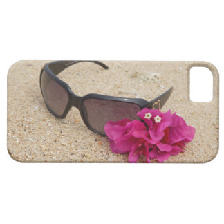Sunglasses and bougainvillia flowers on coral iPhone SE/5/5s case