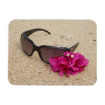 Sunglasses and bougainvillia flowers on coral rectangular photo magnet