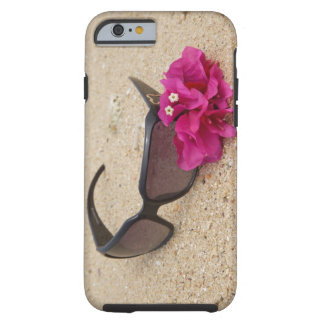 Sunglasses and bougainvillia flowers on coral tough iPhone 6 case