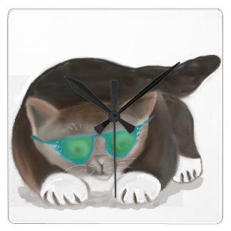 Sunglasses and Kitty Square Wallclock