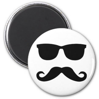 sunglasses and 'stache 2 inch round magnet