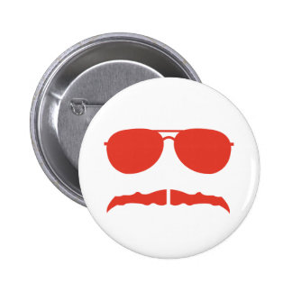 sunglasses and stache pinback buttons