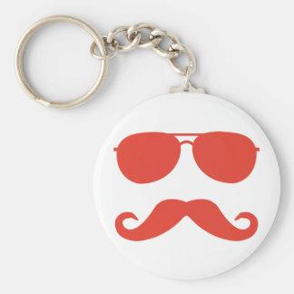 sunglasses and 'stache keychain