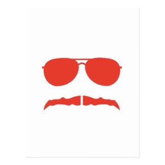 sunglasses and 'stache postcard