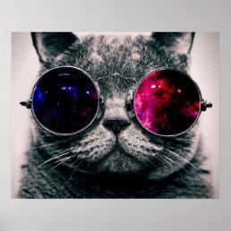 sunglasses cat poster