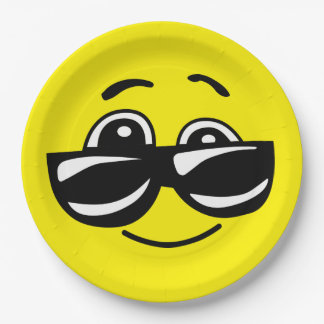 Sunglasses Cool Smiley Face Funny Emoticon Party Paper Plate
