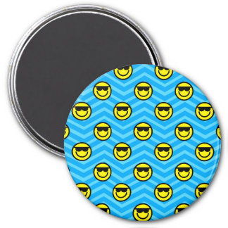 Sunglasses Happy Face on Blue Chevron Pattern 3 Inch Round Magnet