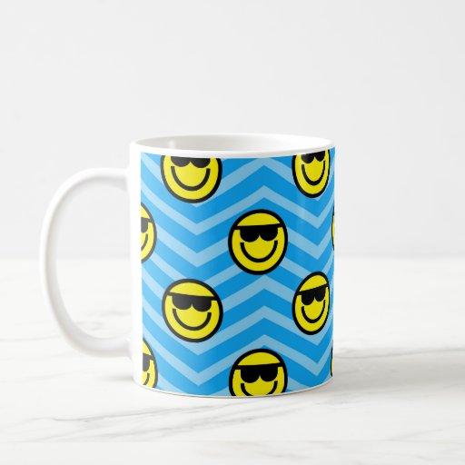 Sunglasses Happy Face on Blue Chevron Pattern Classic White Coffee Mug