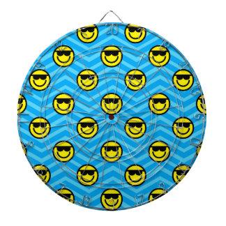 Sunglasses Happy Face on Blue Chevron Pattern Dartboard With Darts