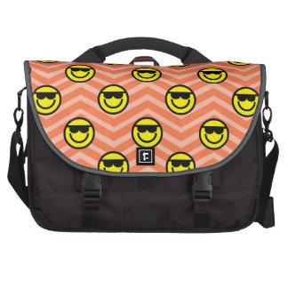 Sunglasses Happy Face on Coral Orange Chevron Laptop Computer Bag