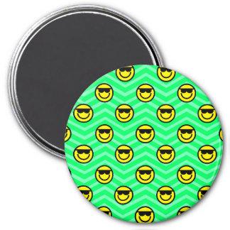 Sunglasses Happy Face on Neon Green Chevron Magnet