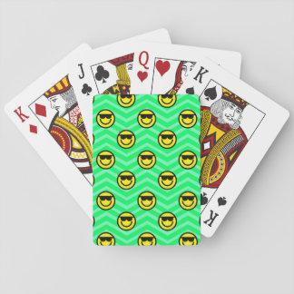 Sunglasses Happy Face on Neon Green Chevron Poker Cards