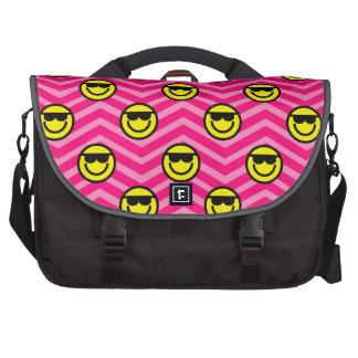 Sunglasses Happy Face on Pink Chevron Pattern Laptop Messenger Bag