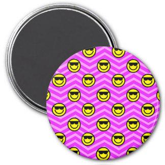 Sunglasses Happy Face on Purple Chevron Pattern Magnet