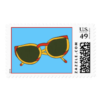 Sunglasses in yellow and red on blue stamps
