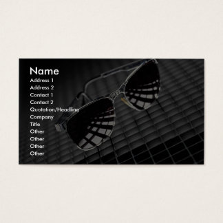 Sunglasses on grid background business card