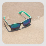 Sunglasses on the Beach Square Sticker