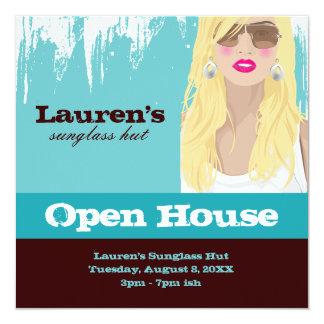 Sunglasses Open House Party Invite Fashion Blue