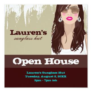 Sunglasses Open House Party Invite Fashion Khaki