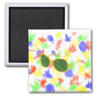 sunglasses orange frame green lenses beach.png 2 inch square magnet