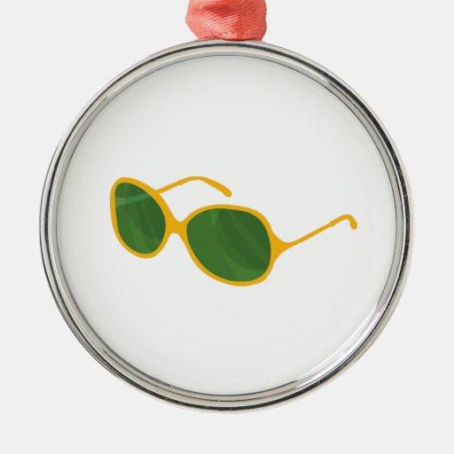 sunglasses orange frame green lenses beach.png round metal christmas ornament
