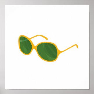 sunglasses orange frame green lenses beach.png poster
