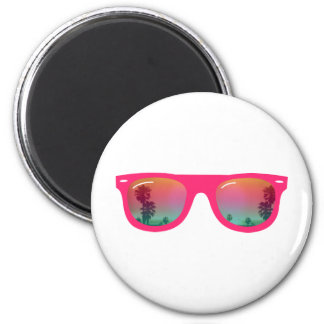 Sunglasses Palms and Beach 2 Inch Round Magnet