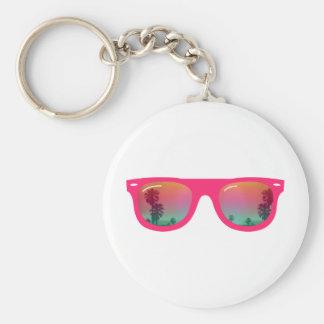Sunglasses Palms and Beach Basic Round Button Keychain