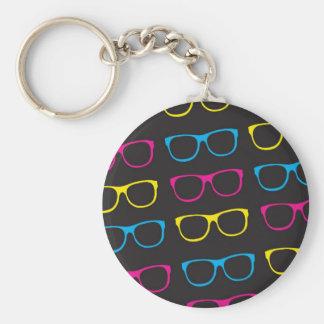 Sunglasses pattern basic round button keychain