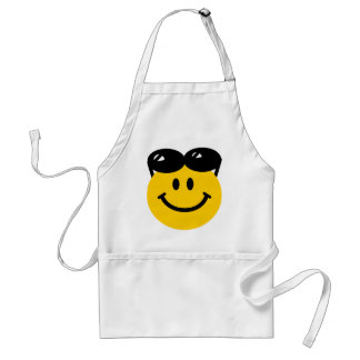 Sunglasses perched on top of head smiley face adult apron