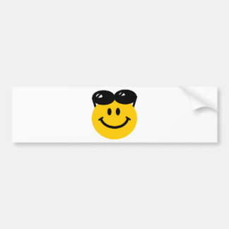 Sunglasses perched on top of head smiley face car bumper sticker