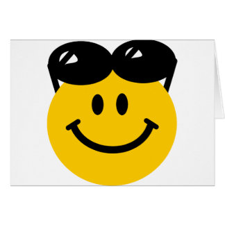 Sunglasses perched on top of head smiley face card
